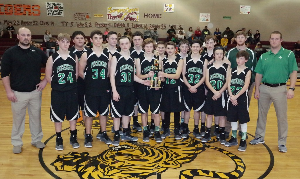 The Pickens County Middle School Dragons pose with the 2015-16 North Georgia Mountain League eighth-grade boys runner-up trophy. (Photo by: Kevin Hensley)