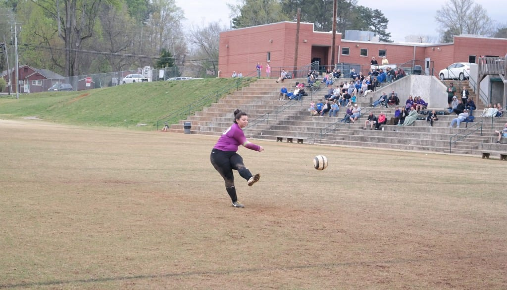 Lady Cat goalkeeper Briana McClure punts a penalty kick during a match against Fannin at the 2016 North Georgia Soccer Classic last Saturday at Jasper Middle School. The PK was the only successful one for Gilmer, as Fannin scored three to defeat the Lady Cats, 3-1. (Photo by: Kevin Hensley)