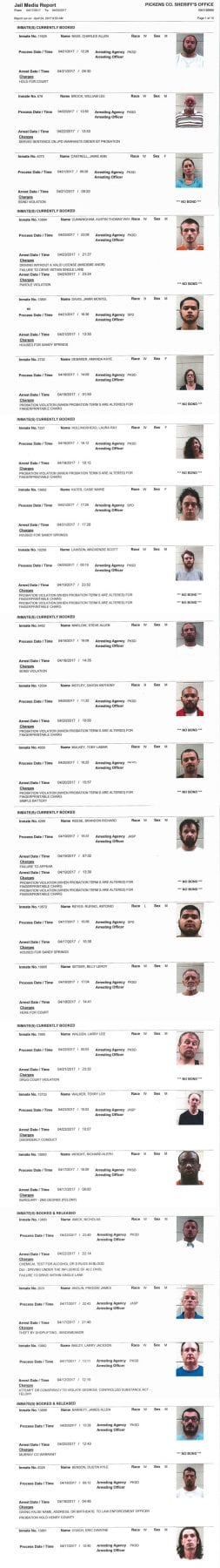 Pickens County Sheriff's Office arrest report Archives